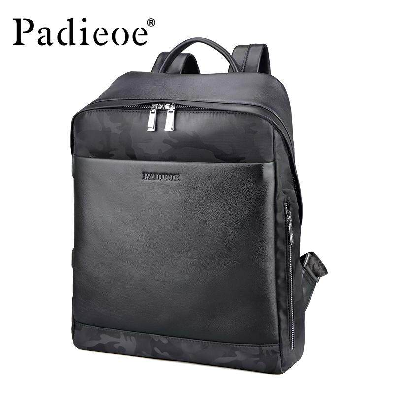 df20d8f7f4 Padieoe 2018 Design Fashion Casual Men Backpack High Quality Genuine  Leather Solid Black School Rucksack Stylish