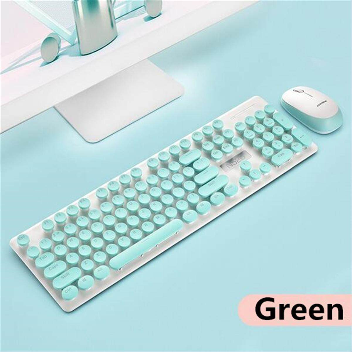2.4GHZ Wireless Keyboard Mouse Set Mouse Office School Punk Machinery Girl Mute