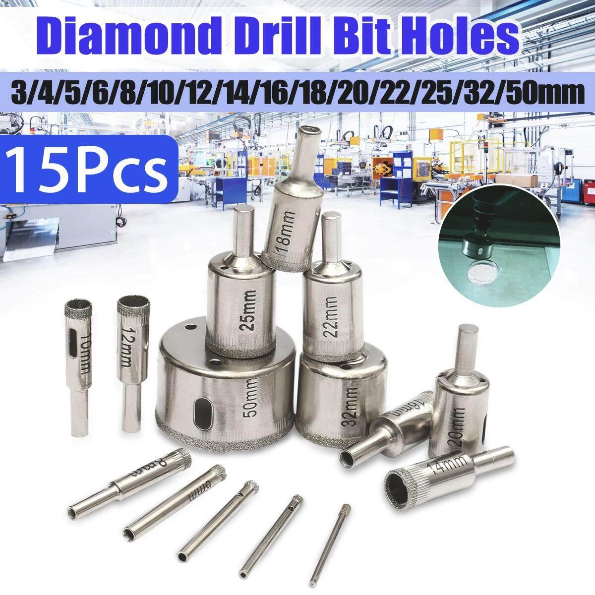 【Free Pengiriman + Super Deal + Terbatas Offer】15pcs 3 Mm-50 Mm Berlian Mata Bor Pembuat Lubang Pemotong Alat untuk Gelas Marmer granit