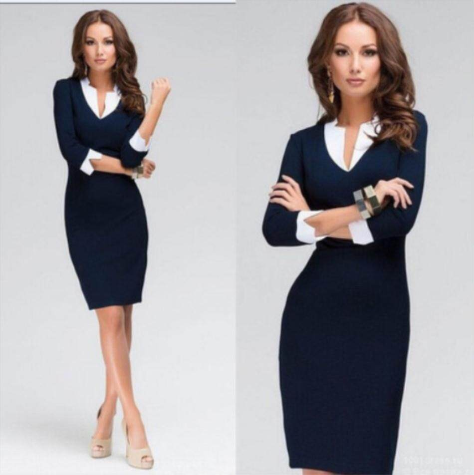 5f5b14c95586 Chfeirno Store Women Summer Slim V-neck Long Sleeve Office Lady Business Pencil  Dress