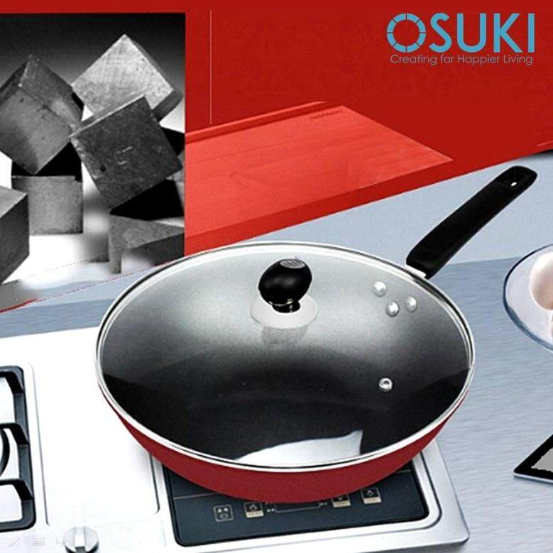 OSUKI Non Stick Cooking Pan 30cm With Glass Cover