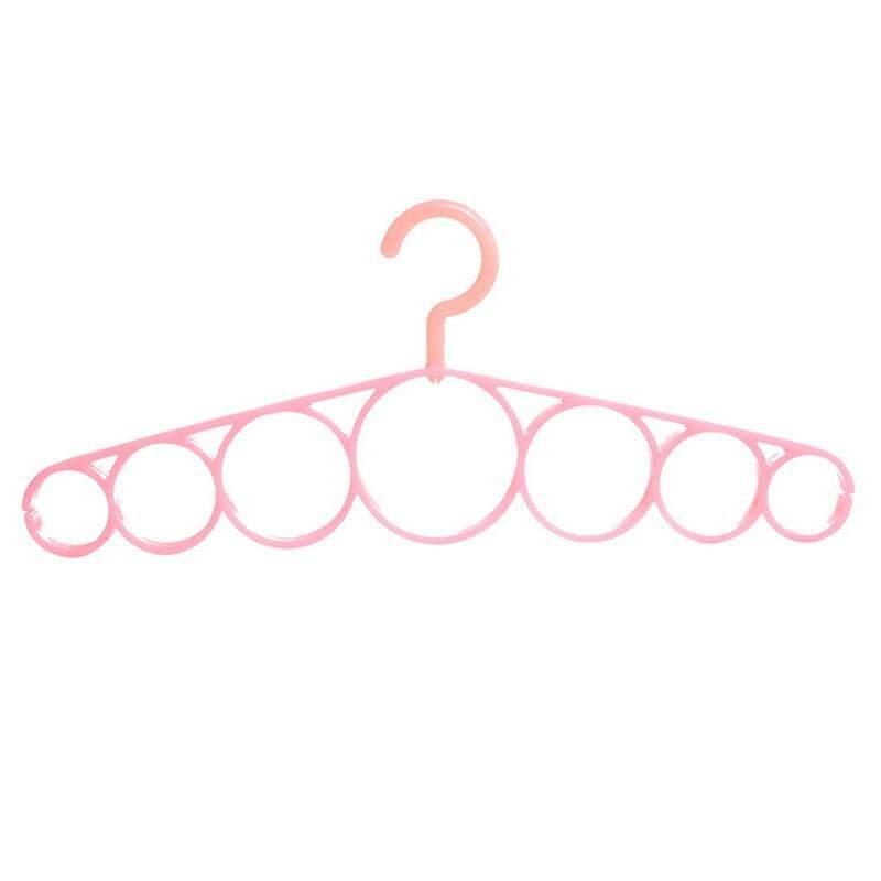 Gantungan Selendang Gantungan 7 Ring Lubang Lingkar Dasi Pakaian Eropa Rak Penyimpan Syal Kain Memutar Penghemat Ruang Lemari Organizer (Merah Muda) S: 27.5*13.4 Cm-Intl