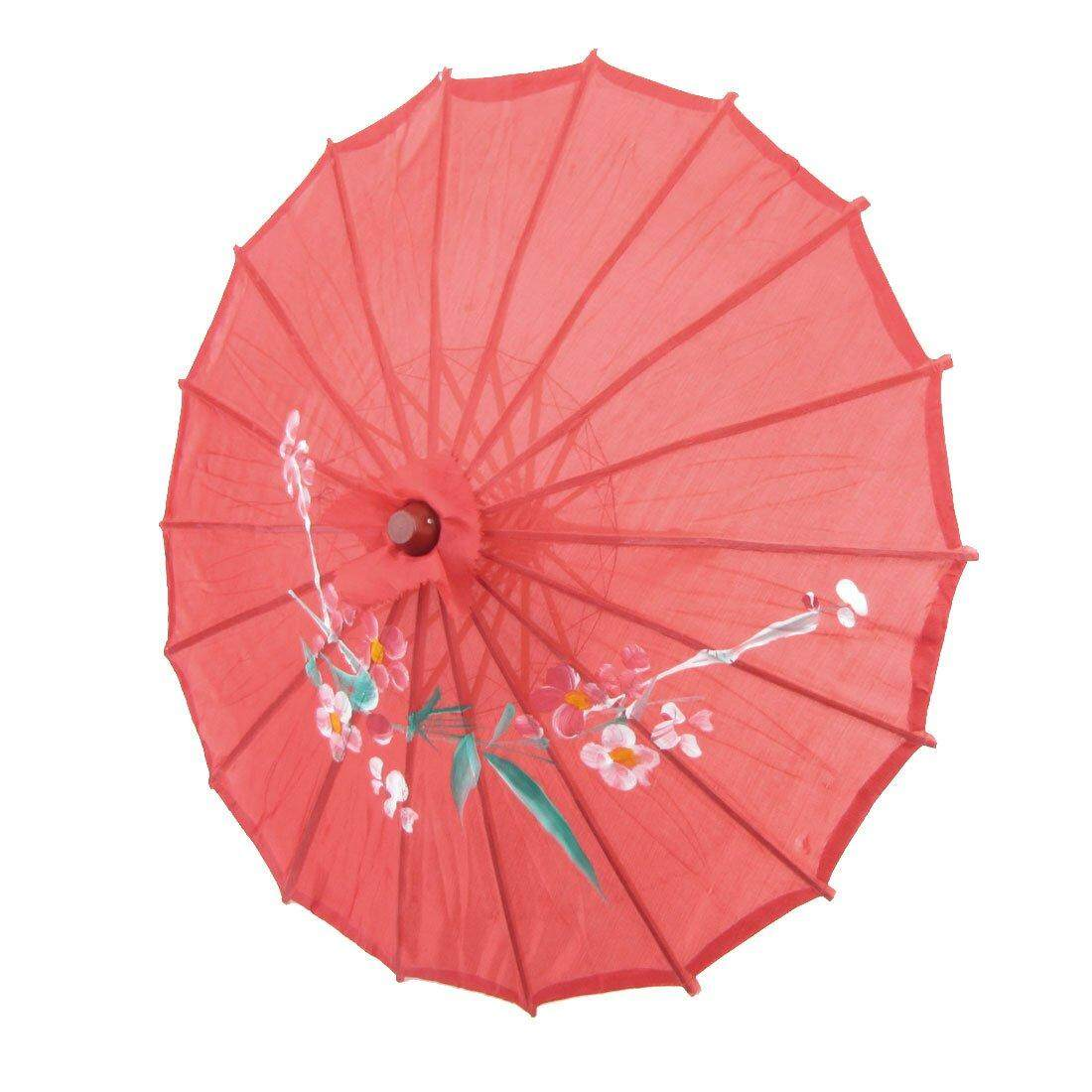 Flower Print Red Cloth Bamboo 21  Dia Chinese Oriental Umbrella Parasol