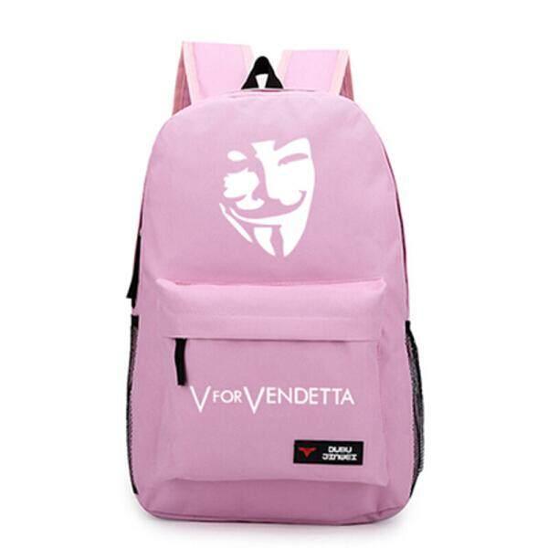 【Pink】adolescent Ransel Pelajar Pria dan Wanita Siswa SMA Sekolah Vendetta Topeng Putih Topi Leisure Couples Ransel Ransel Tas Kanvas-Intl
