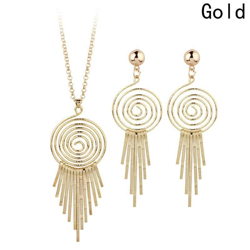 Linfang Wanita Kepribadian Spiral Liontin Bundar Kalung Rumbai Anting-Anting Sederhana Set Perhiasan-Intl