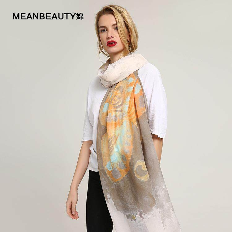 2018 Explosion Sheep Sticky Colorful Butterfly Pattern Print Cotton and Linen Fashion Scarf Lady