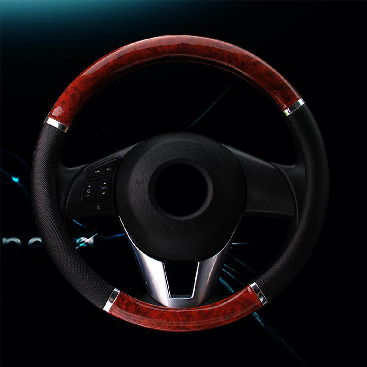 Luxury Auto Car Steering Wheel Cover Mahogany Wood With Pu Leather Car Cover By Moonbeam.