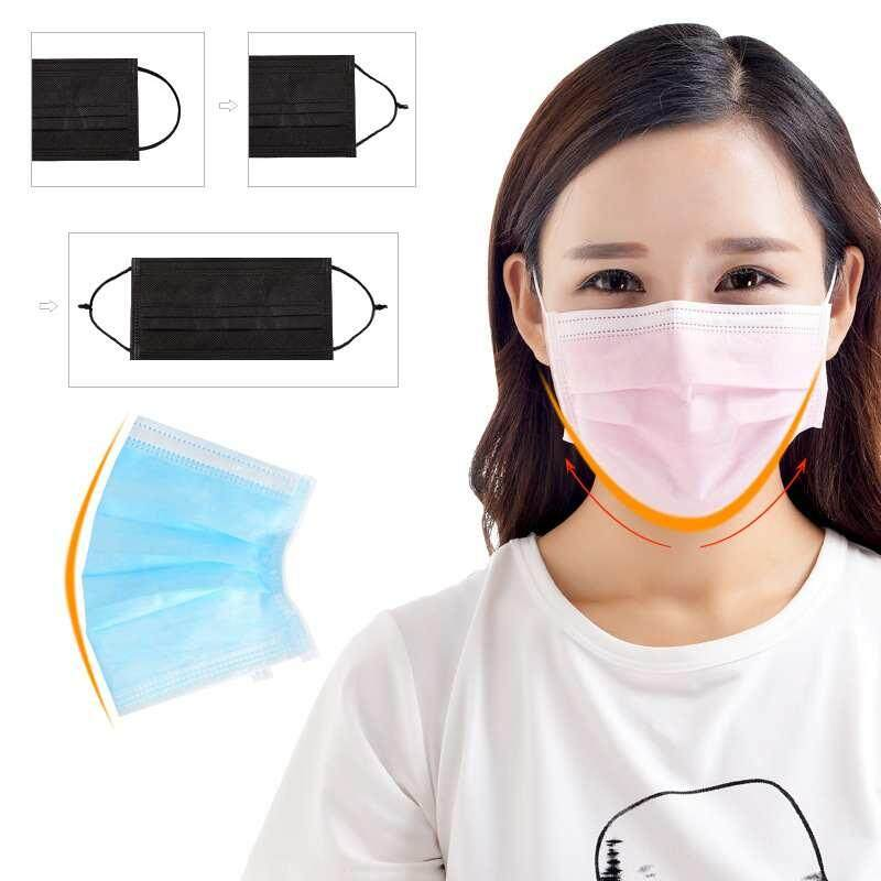 Yuero 100 Pcs 3 Layer Non Woven Disposable Anti-Dust Tie On Surgical Medical Face Mask Mouth Flu Mask (10 Pieces X 10 Pack) - Pink By Yuero.