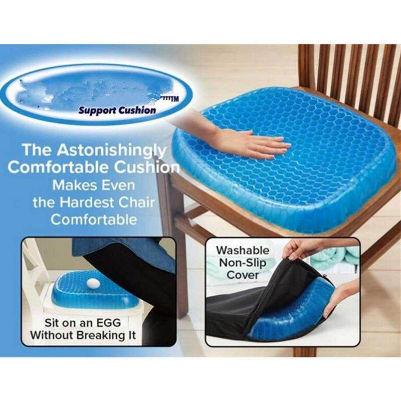 Kobwa Comfort Gel Seat Cushion Elastic Gel Cushion Seat Pad Pressure Absorbs Honeycomb Sitter with Black Cover for Chair Office Relieve pain, fatigue, breathability