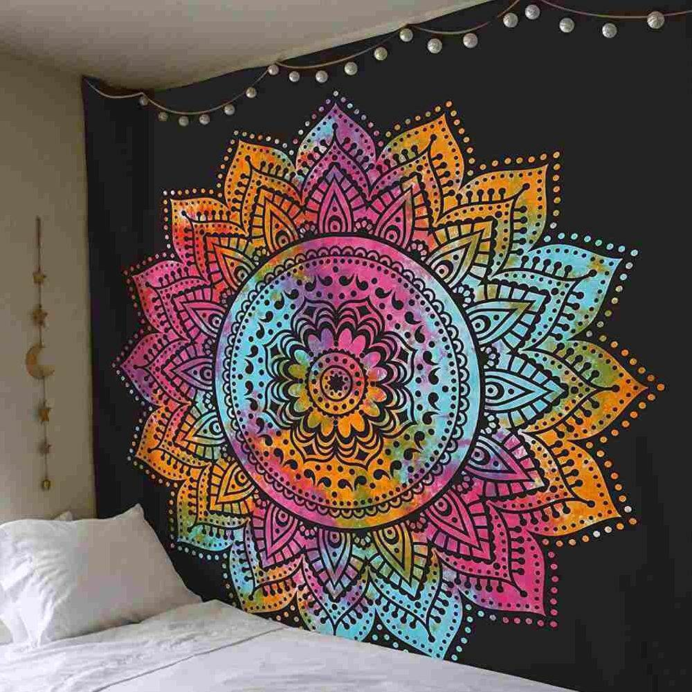 Suke 200*150cm Indian Floral Mandala Colored Tapestry Decorative Printed Wall Hanging