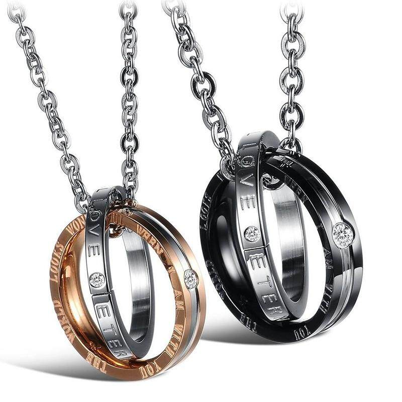2pcs Jewelry Friendship Chain Steel Couples Pendant Diamond Rings With 45 Cm And 50 Cm Chain, Necklace For Men And Women, Silver Black + Silver Gold.