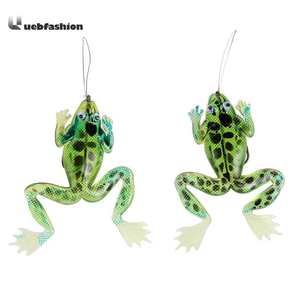 2pcs Fishing Lures Soft Frog Simulation Fish Lure Baits with Hook Green Silicone Bait Fishing Accessopries