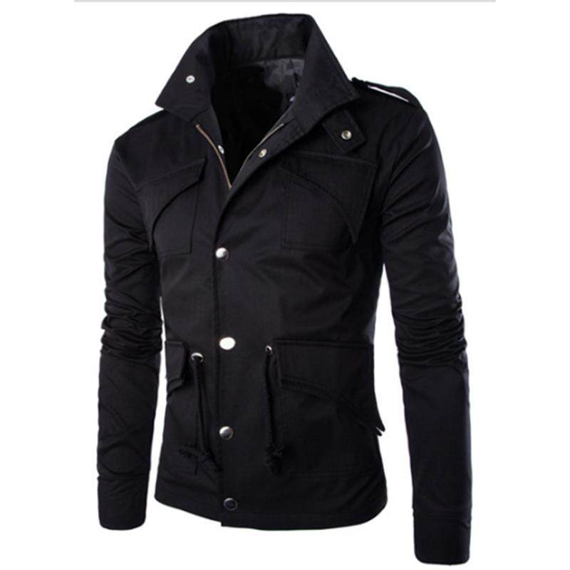 Rd Men Casual Solid Color Jacket Chic Slim Multi-Pocket Stand Collar Coat By Redcolourful.