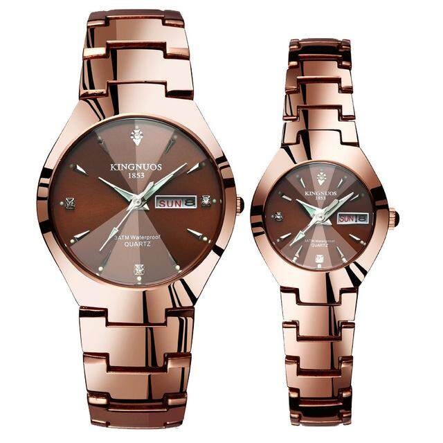 Detail Gambar Fashion Couple Watch Men and Women Couple Watches Quartz Watches Date Week Stainless Steel Clock Luminous Lover Wristwatch+Free Adjustable ...