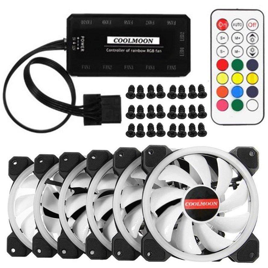 OSMAN 6Pcs/set Computer PC Cooler Cooling Fan Double Ring 366 Modes RGB LED 120mm Super Quiet 3Pcs Free Shipping