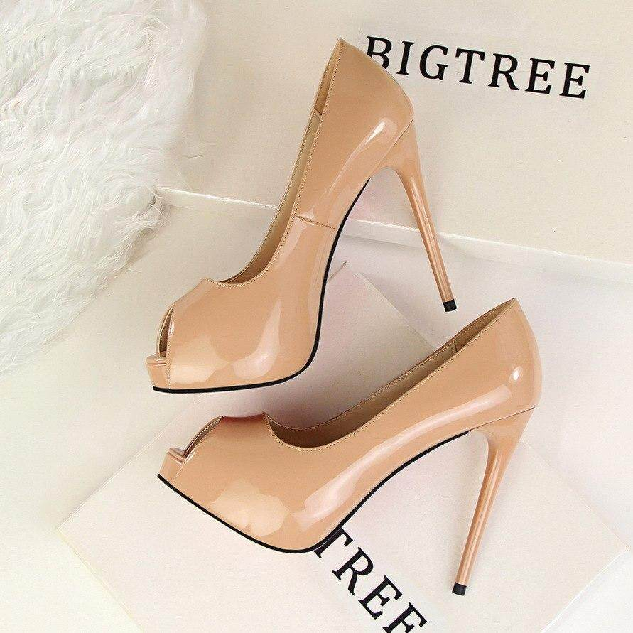 a077932559 BIGTREE G1675-1 Women Summer Autumn Pumps Fashion Patent Leather Slim Sexy  High-heeled