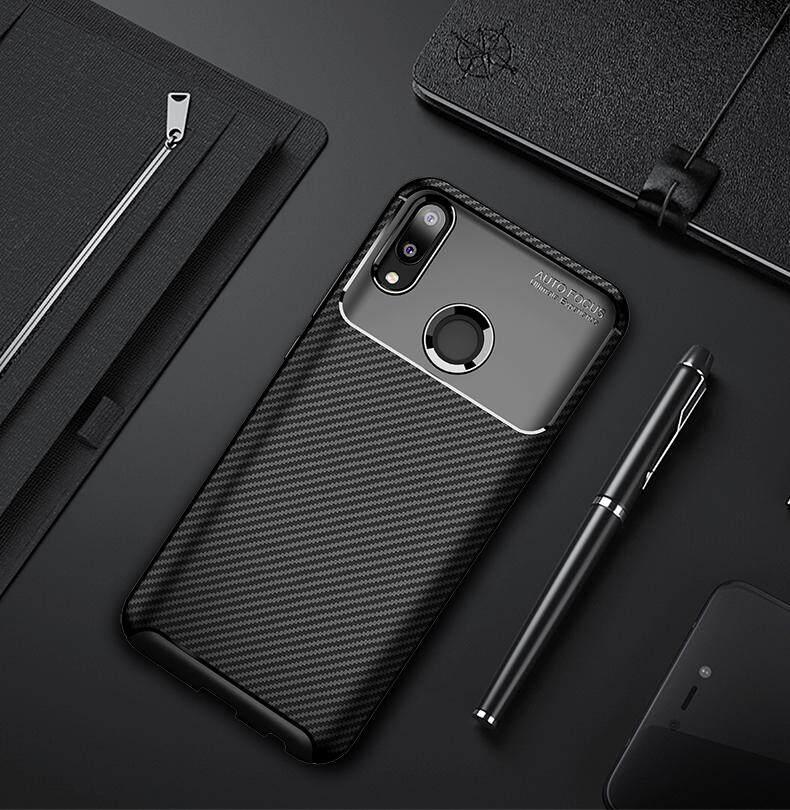 Casing Tahan Guncangan untuk Huawei Y9 2019 Slim Carbon Fiber Lembut Pelindung Sarung Handphone dari Gel Casing Kover untuk Huawei Y9 2019