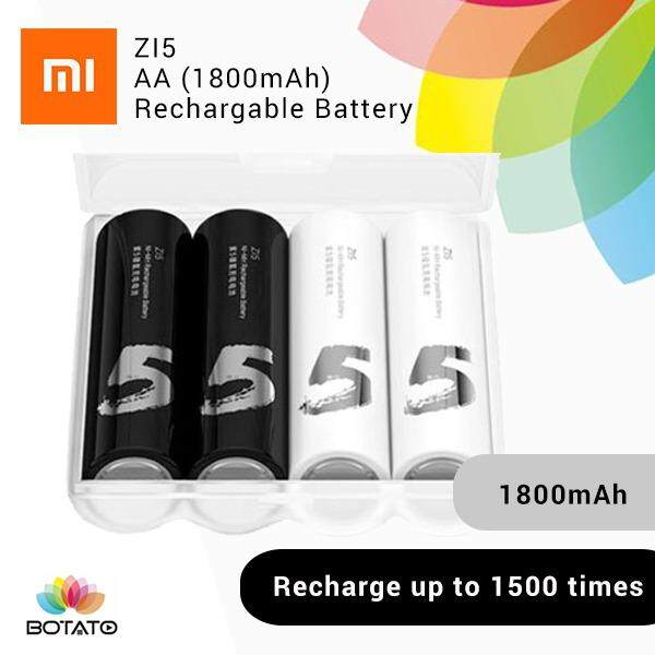 [[Xiaomi AA Battery]] 4PCS Xiaomi ZI5 AA 1800mAh 1.2V Rechargeable Ni-MH Battery -WHITE AND BLACK [[Botato Electronic]]