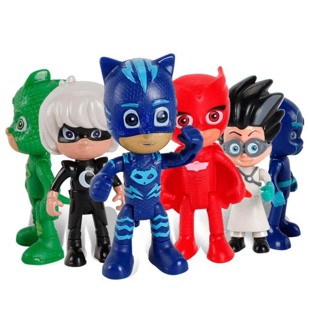 6 PCS Masked Pajama Man + 3 PCS Weapons Cartoon PJ Masks Toys Set children's toys