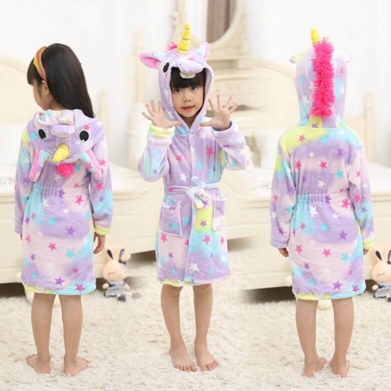 3e322b83b0087 Bathrobe for girls Pajamas Baby Bath Robe Rainbow Unicorn Pattern Hoodies Robes  Kids Sleepwear kids Animal