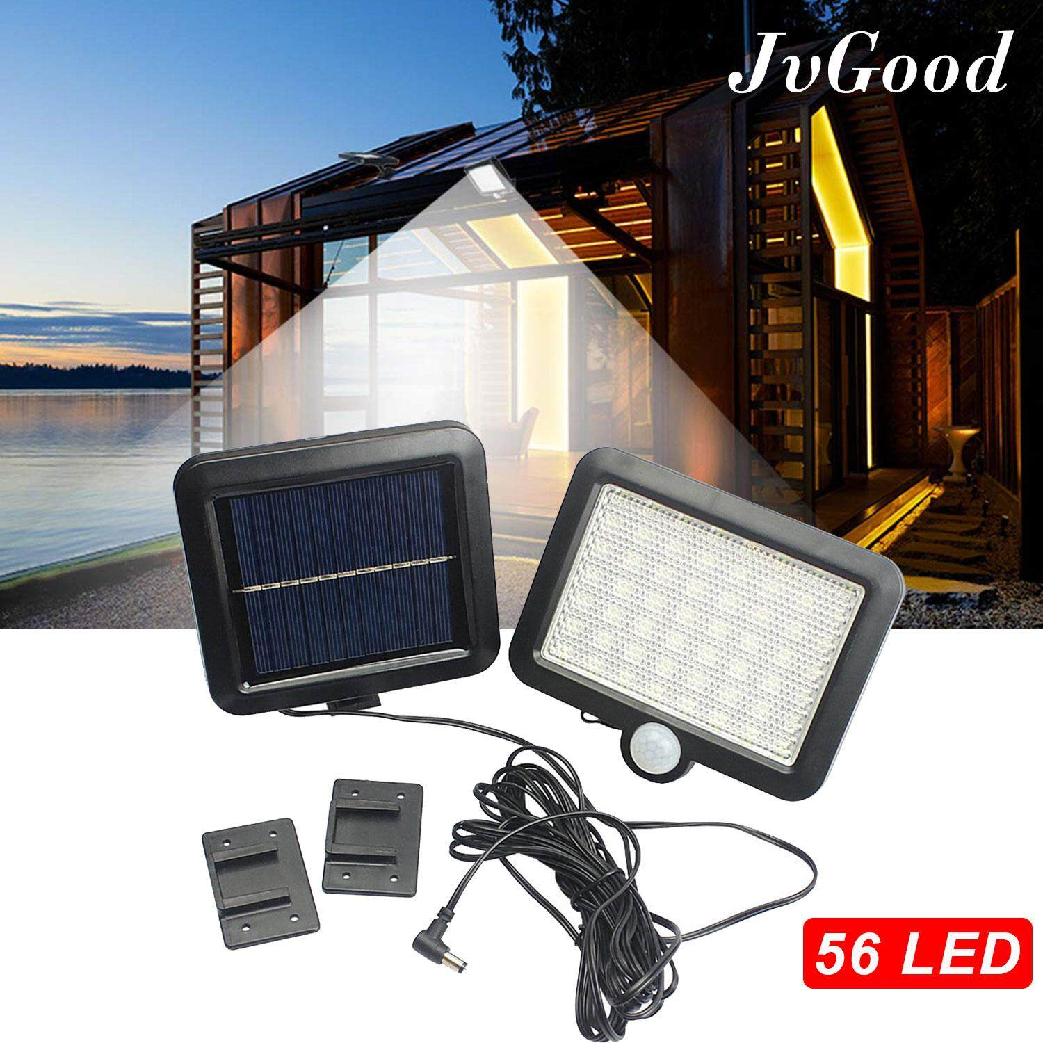 JvGood Outdoor Lighting Sensor Solar Wall light 56 LED Solar Lights Waterproof Solar Powered Motion Sensor Garden Security Lamp Wireless Security Lights Outside Wall Lamp for Driveway Patio Garden Path