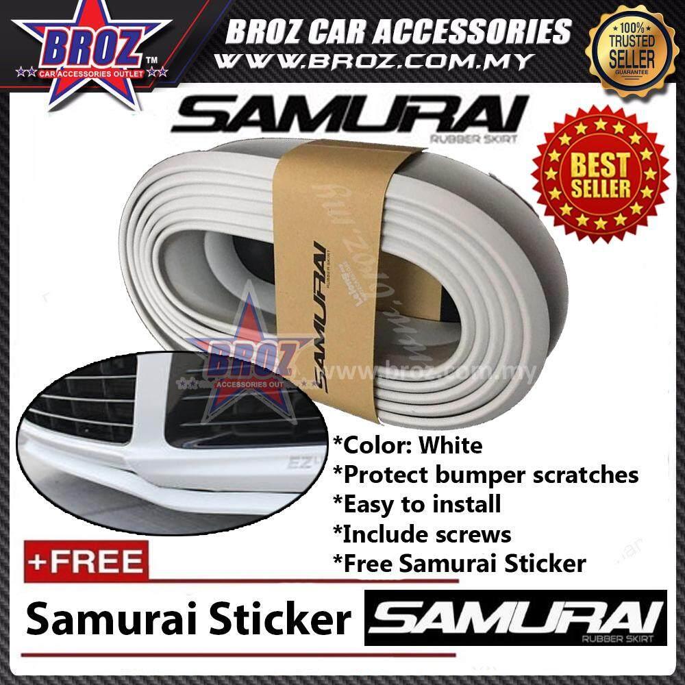 Samurai Rubber Skirt 3M Length Lip Skirt Protector Universal Car Front Lip Bumper Rubber Strip-White