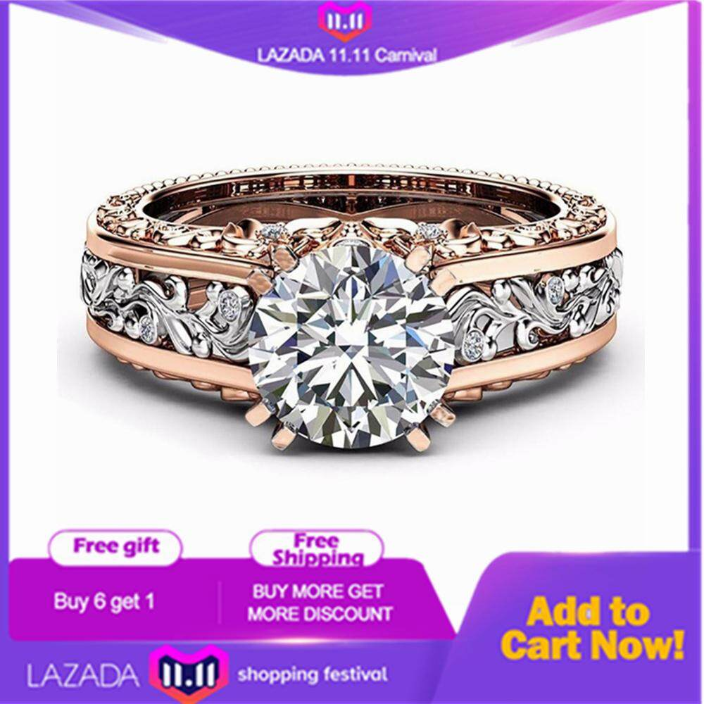 ❤SKute Jewelry White Crystal Diamond Engagement Ring 14K Rose Gold and Sterling Silver Wedding Bridal