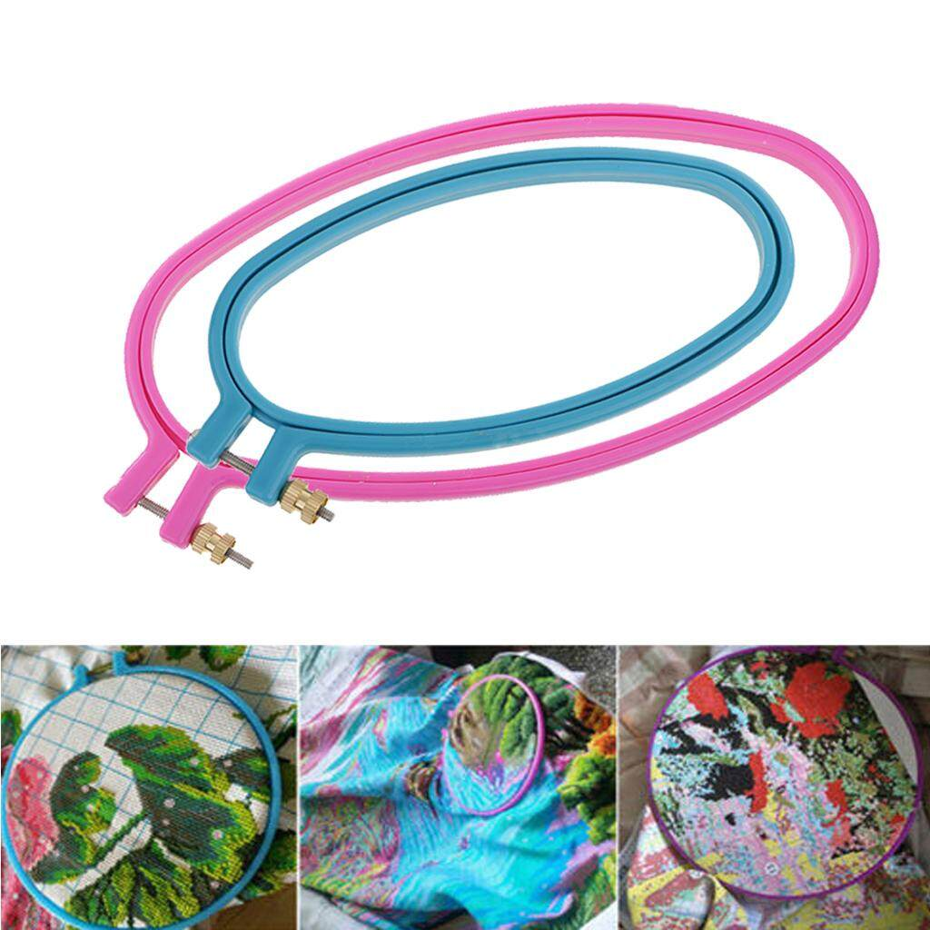 MagiDeal 2 Sizes Plastic Oval Cross Stitch Hoops Needlework Embroidery Sewing Hoops