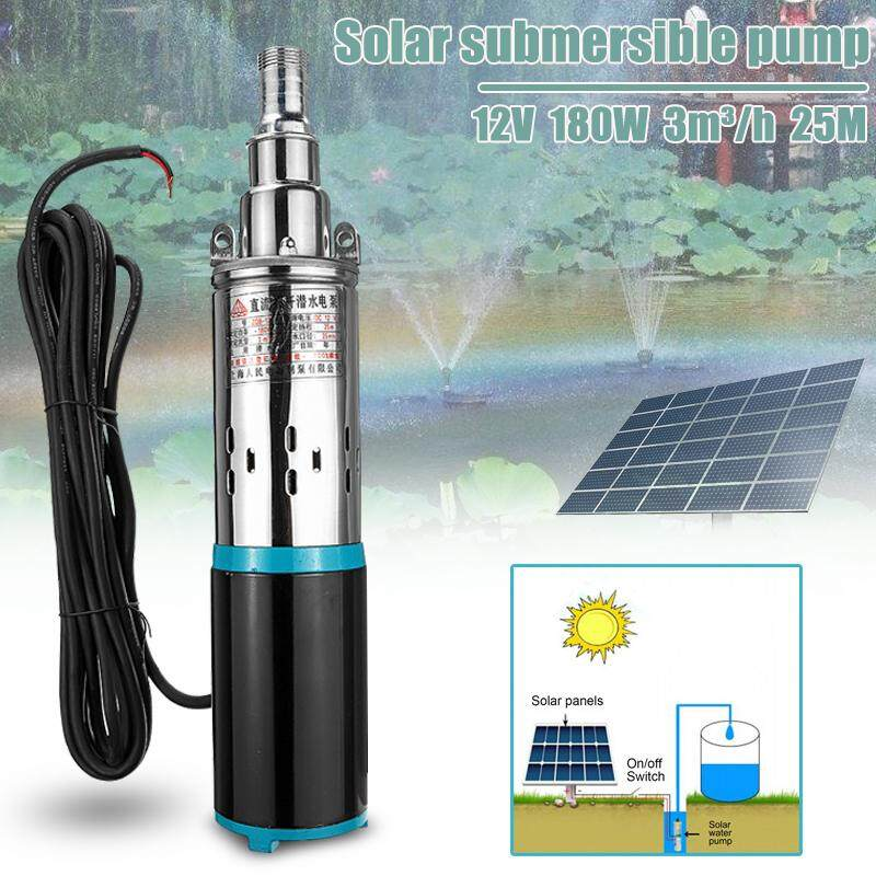 12V/24V DC 3m3/h 180W Solar Deep Well Water Pump Stainless Steel Submersible Pum