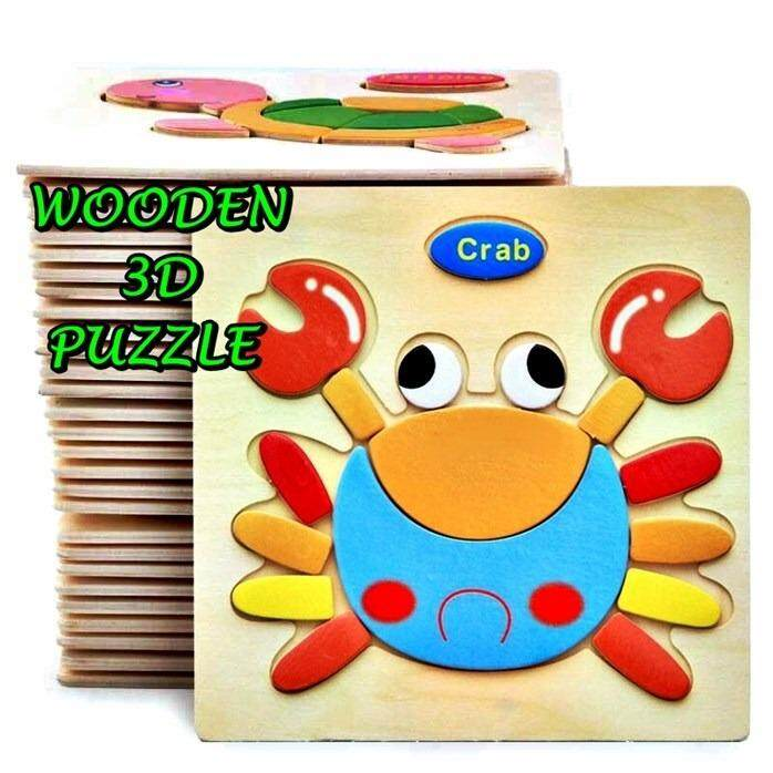 Baby 3D Wooden Puzzle Toys Cartoon Animals 3D Puzzles Educational Toy (Random)