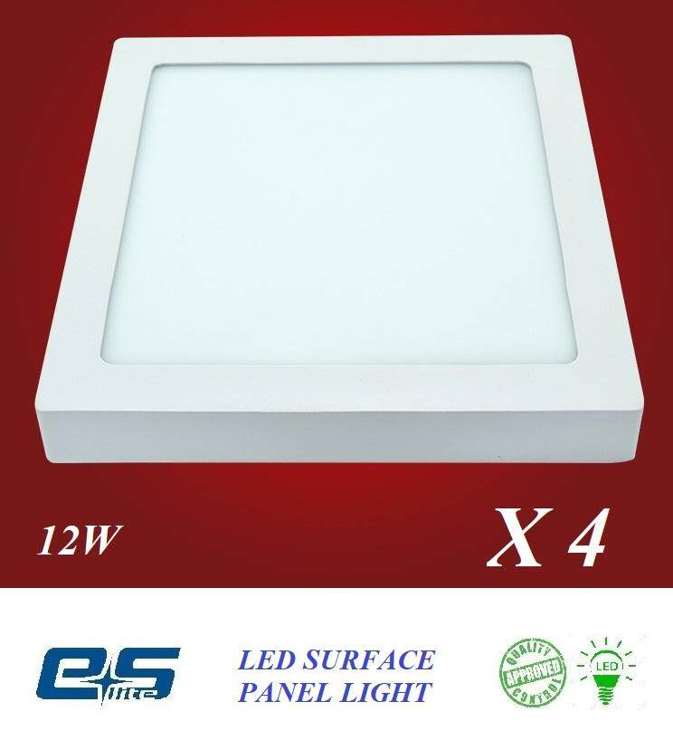 4 PCS ES LITE LED SURFACE PANEL LIGHT SQUARE 12W WARM WHITE