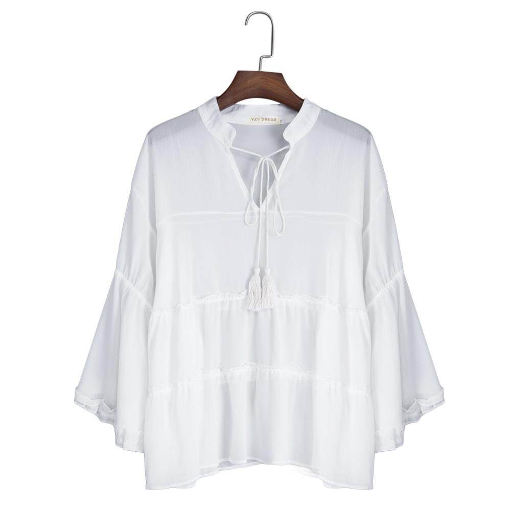 CASUAL V-NECK FLARE SLEEVE PLUS SIZE SLIM SHIRT FOR WOMEN (WHITE, SIZE XL/2XL/3XL/4XL/5XL)