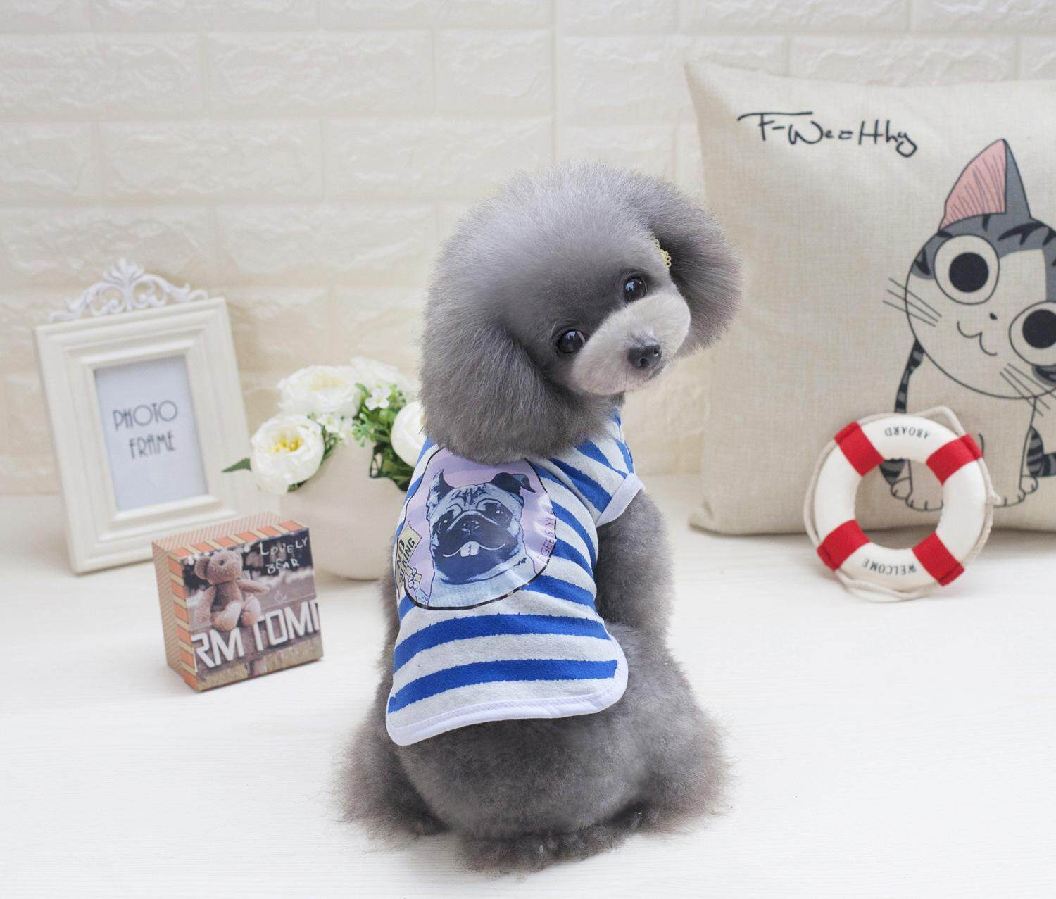 Hình ảnh Summer Pet Dog Clothes for Small Dog T-shirts Puppy Sport Soccer Jersey Cat Striped Vest Outfit Spring Pet Coats Vests