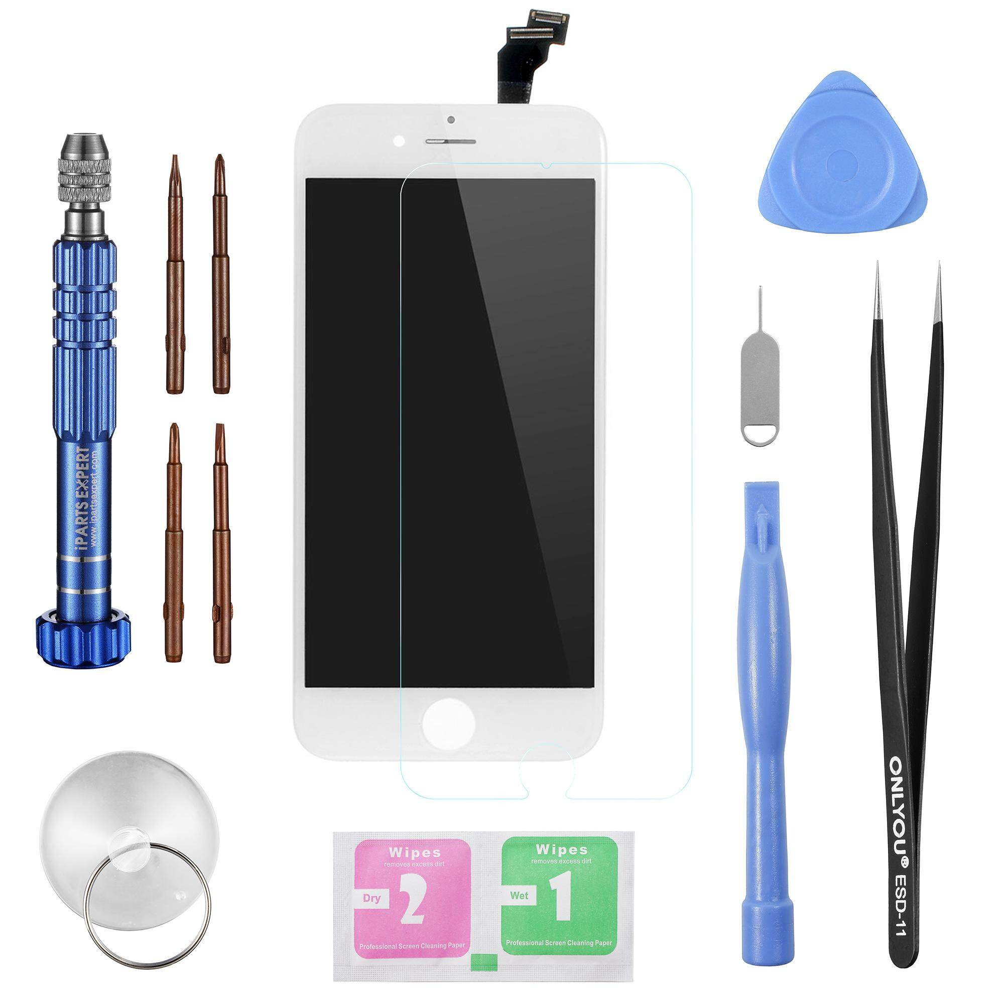 [Stock Ready] iPARTS Quality Guaranteed LCD Touch Screen and Digitizer Assembly Replacement + Professional Disassemble Repair Opening Tool Kit [All in 1] for iPhone 6 4.7 inch - Black - intl