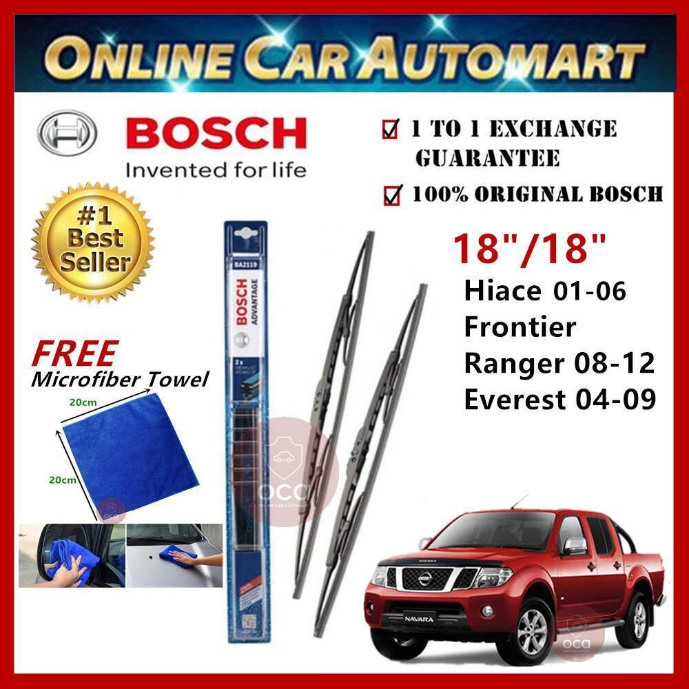 Nissan Navara Yr2004-2017 - Bosch Advantage Wiper Blade (Set) - Compatible only with U-Hook Type - 18 inch & 18 inch
