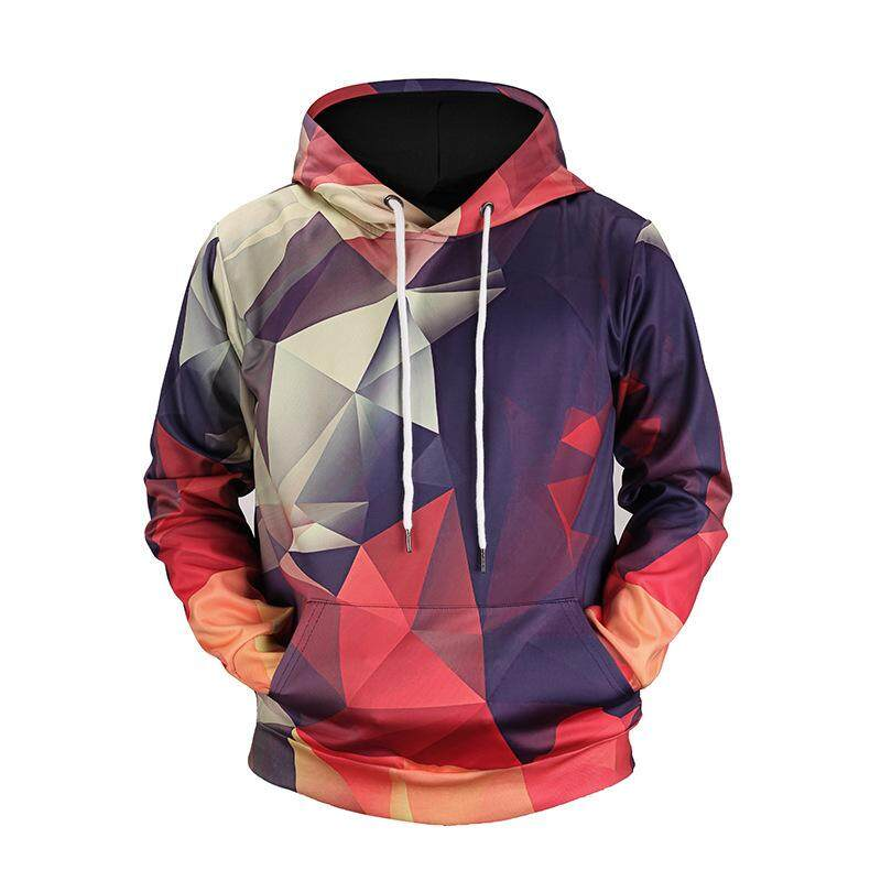 New Men Sweaters Hot Hoodies For Digital Color Geometric Grid Printing Sweatshirt By Guo Guo Well Shopping Store.