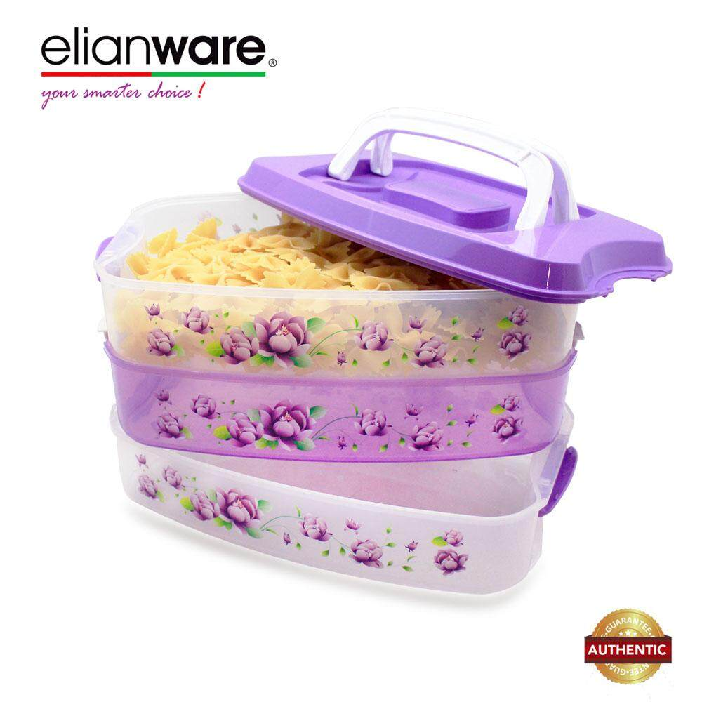 Elianware 3 Tiers Grab & GO BPA Free Purple Floral Food Container