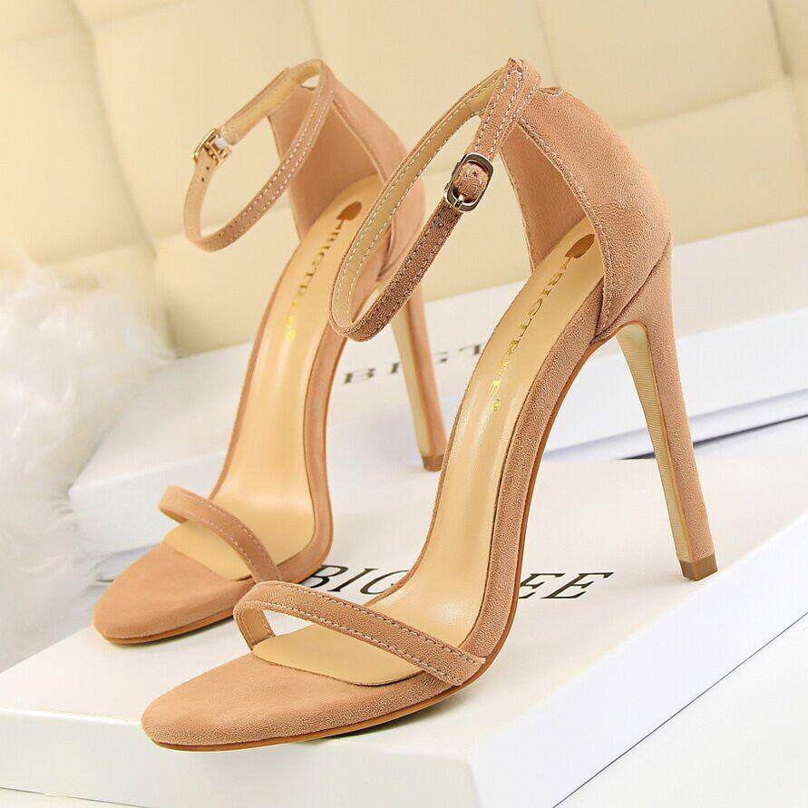 Musim Panas Hak Tinggi Modis Sandal untuk Wanita Telanjang Pompa Gesper Sepatu Hak Tinggi Wanita Sepatu Sandal Wanita Sandal Bertumit 34 ~ 40 - 5