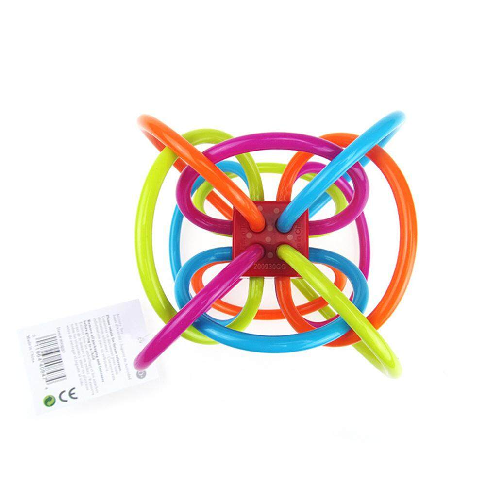 Ball Safety Baby Teether 12cm Silicone molar Colorful Kids Teething Massager Infant Training Tooth Sound Intelligent Grasp Toy