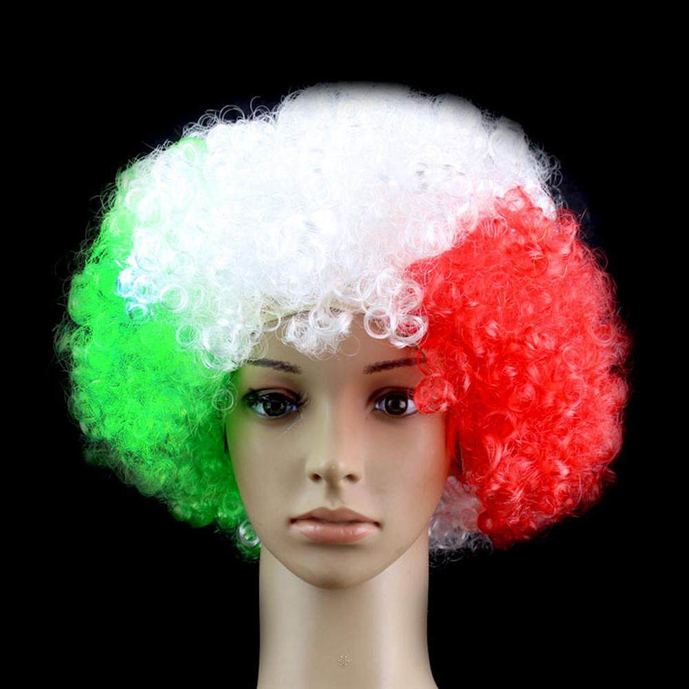 Sunyoo- Sports Competition National Flags Colors False Hair Wig Head Cover Fans Party Supplies - intl