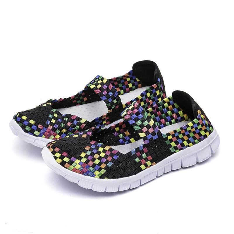 Chuangyu Mode untuk Wanita Tenunan Tangan Berjalan Sepatu Ukuran Besar Sepatu Kets Santai .