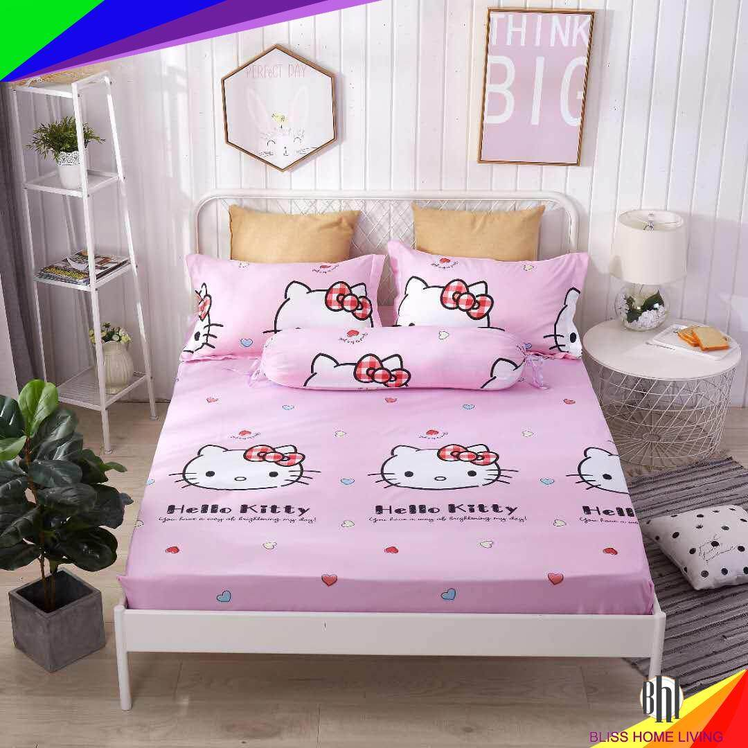 (King Size)4 in 1 Bed Sheet set Cute Hello Kitty Cartoon Design Fitted Bed Sheets (183cm x 193cm x 40cm)