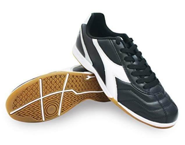 Diadora Pria Capitano Id Sepatu Sepak Bola Dalam Ruangan (12.5 D (M) US Pria Hitam Putih perak)-Intl