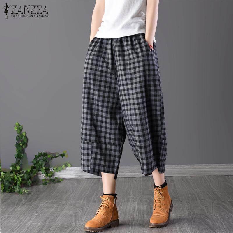 Zanzea Wanita Check Kotak-kotak Pinggang Elastis Lebar Kaki Longgar Celana Panjang Panjang Plus-