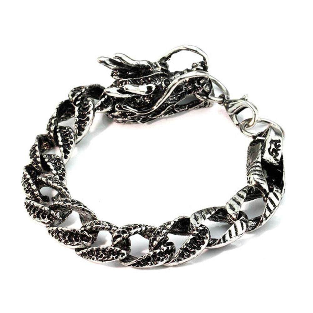 Boom-Men Hand Chain Men Bracelet Cool Silver Black Stainless Steel Accessories Punk By Boom Store Shop.