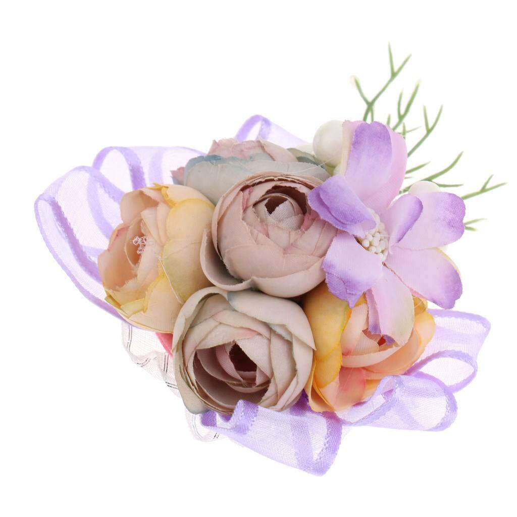 GuangquanStrade Bridesmaid Sisters Corsage Bracelet Hand Flowers Wedding supply Purple