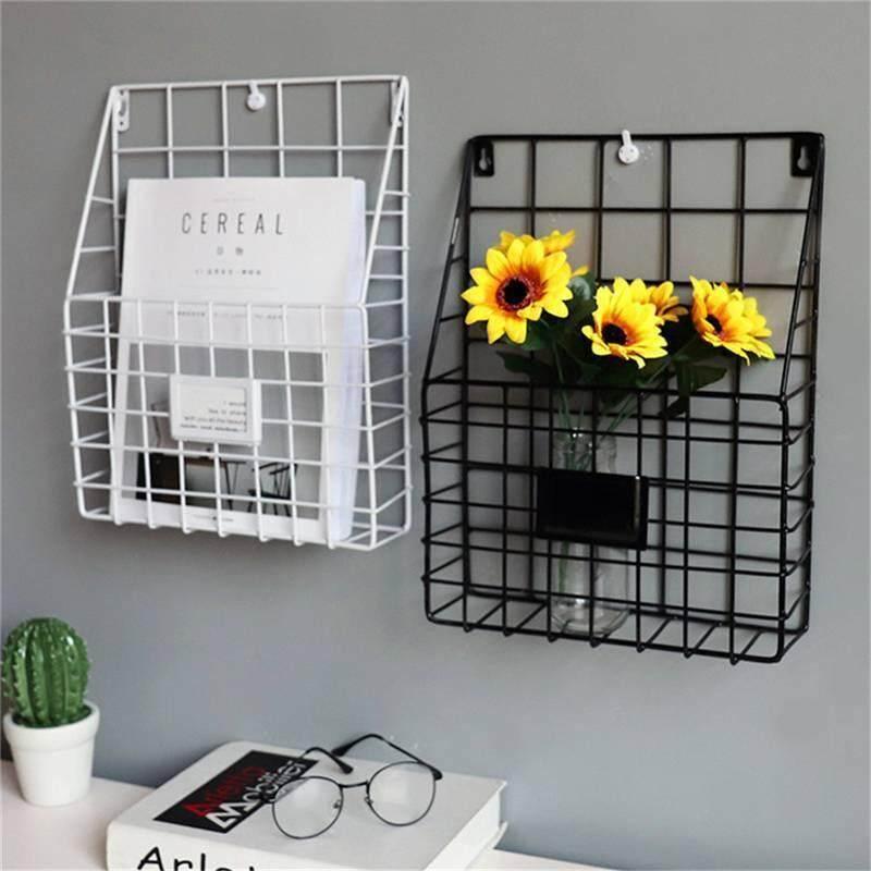 Simple Iron Wall-Mounted Hanging Rack Magazine Newspaper Storage Shelf Organizer( Black Or White)