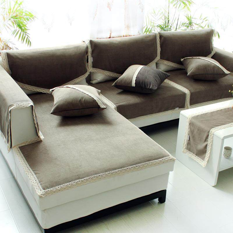 Sofa Pad Fashion Fabric Four Seasons Sofa Pad Sofa Cover Cloth Anti-slip Chenille Fabrics Gray