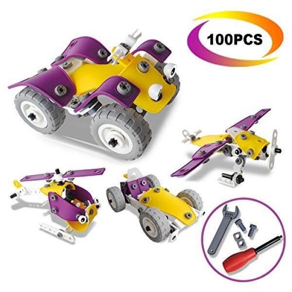 4 Dalam 1 Bangunan Toys Set-Carlorbo Rakitan Teka-teki Mainan Model Mobil Pesawat Sepeda Motor, ide Hadiah Mainan Anak-anak untuk 5 Tahun Anak Laki-laki Perempuan (100 Pcs)-Internasional