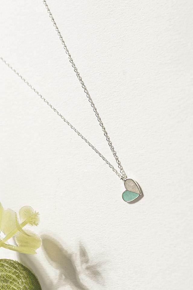 【Hijau】s925 sterling silver kalung menetes model warna cinta mantra klavikula Ms. rantai